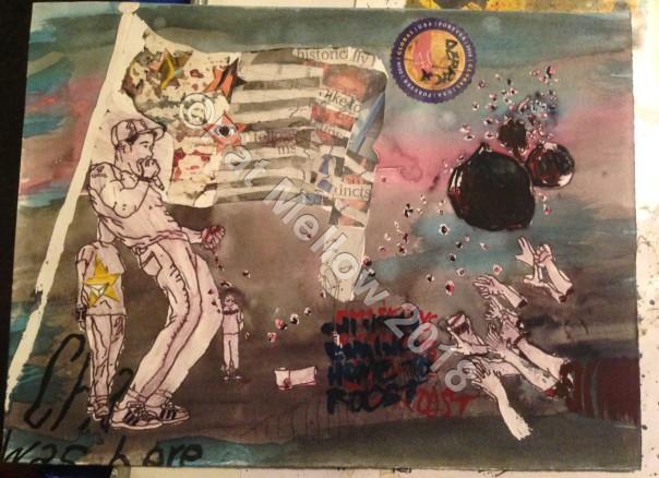 Gouache, multi-media, watercolour, pen and wash, latex on cartridge. Copyright Pat Mellow