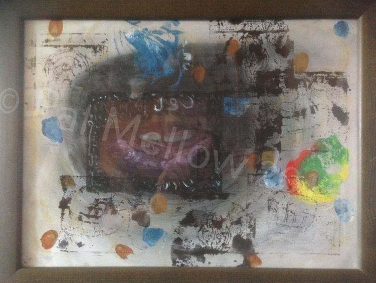 Mikey DON (Krispy 3). Acrylic, lino print, ink.