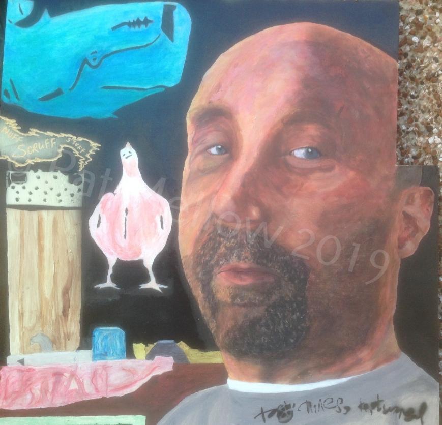 Mr. Scruff. Acrylics, spray paint, stencil and Dremel.