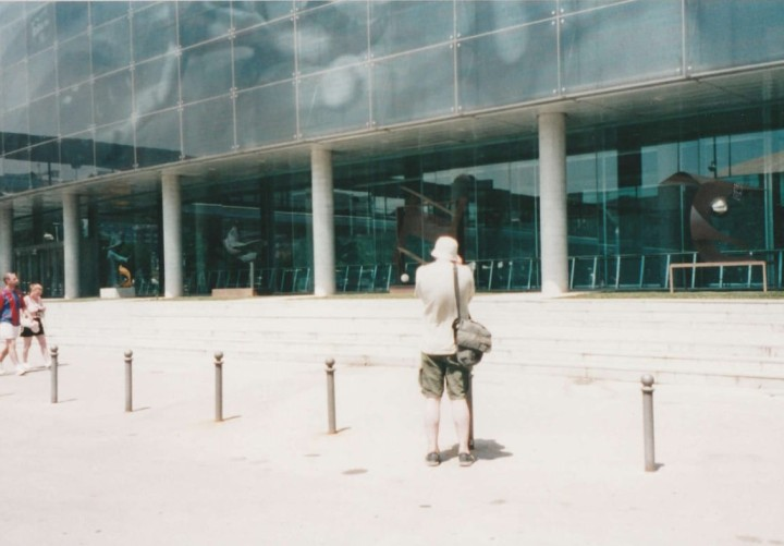 John outside the Camp Nou, Barcelona, 2003